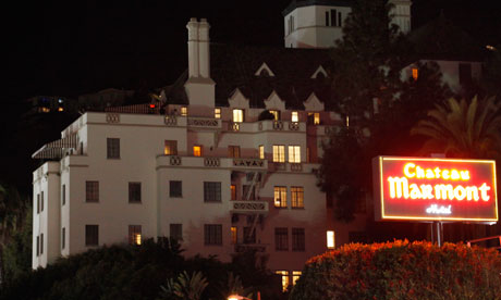 Chateau Marmont at night on the Sunset Strip